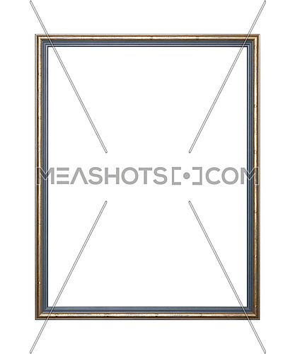 Vintage old wooden classic Golden and grey painted vertical rectangular frame for picture, photo or mirror, isolated on white background, close up