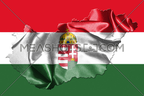 Hungarian National Flag And Map Waving in the Wind Isolated on White Background 3D illustration