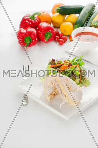 tuna fish and cheese sandwich with fresh mixed salad ,watermelon and gazpacho soup on side,with fresh vegetables on background ,MORE DELICIOUS FOOD ON PORTFOLIO