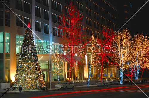 Christmas tree and trees decorated with lights in Baku, Azerbaijan