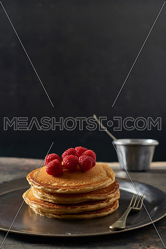 Pan Cakes with red berries and honey