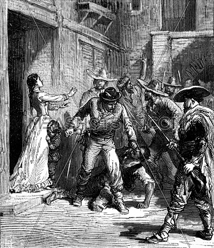 Bandits of the sea. A young girl facing the troupe of the conspirators, vintage engraved illustration. Journal des Voyages, Travel Journal, (1879-80).