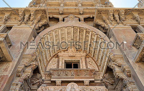 Low angled view of  external facade of Baron Empain Palace, Heliopolis district, Cairo, Egypt