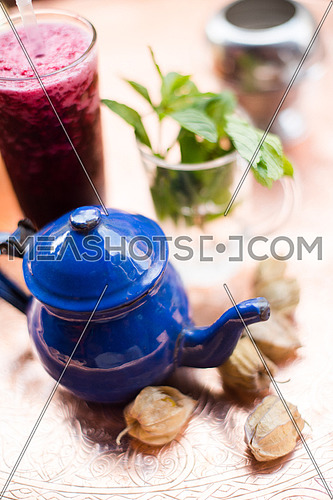 Refreshing middle eastern traditional drink served on a platter