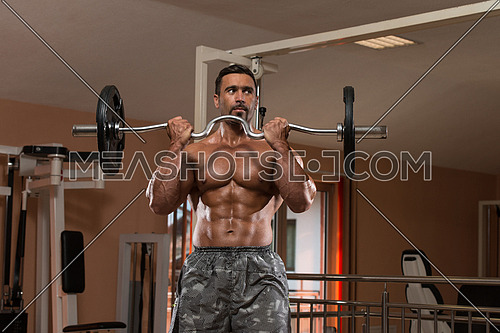 Mexican Bodybuilder Doing Heavy Weight Exercise For Biceps