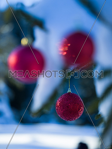 christmas tree red ball decoration with real snow