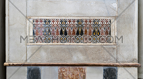 Architectural detail of a decorative mosaic colored panel, Mosque of Sultan Qalawun, Cairo, Egypt