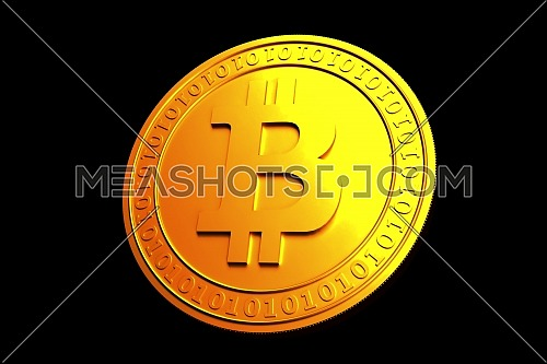 Bitcoin. Physical bit coin. Digital currency. Cryptocurrency. Golden coin with bitcoin symbol isolated on black background. Stock vector illustration.