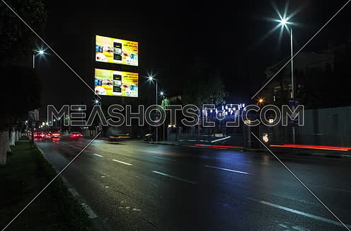 Zoom IN Shot for traffic at Salah Salim Street at Night
