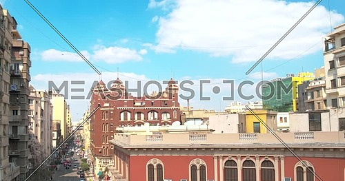 Pedestal Shot drone for buildings in Cairo Downtown at day