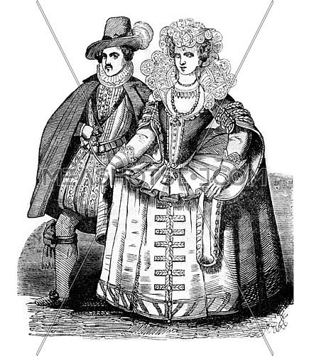 Robert Carr, Earl of Somerset and Lady Essex, his wife, vintage engraved illustration. Colorful History of England, 1837.