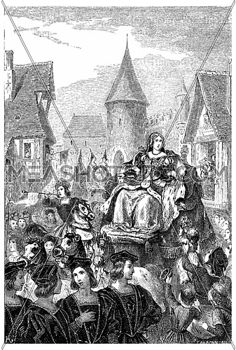 Entry of Anne of Brittany in Lyon, vintage engraved illustration.