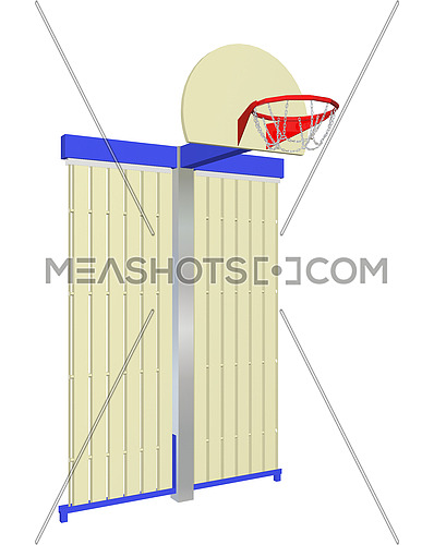 Red, blue and beige wall-mounted basketball goal with protective backing, isolated against a white background