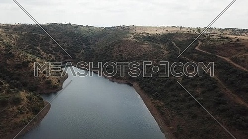 Aerial view of the Rumblar Reservoir at 79% of its capacity, near the population of Baños de la Encina, province of Jaen, Andalusia, Spain