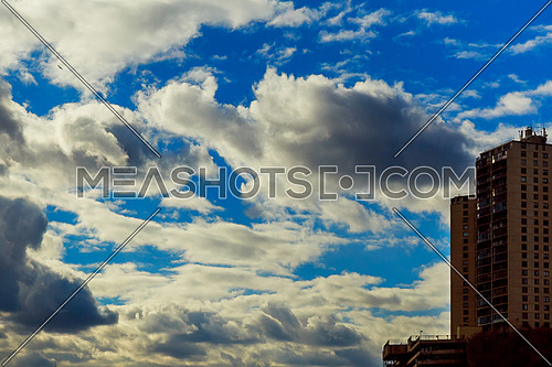 Dramatic stormy clouds. Natural background, a dark stormy sky