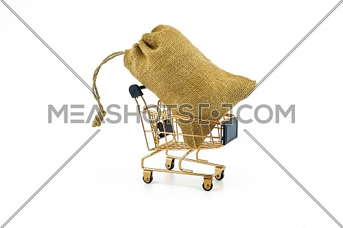 Golden shopping cart and jute bag isolated on white background