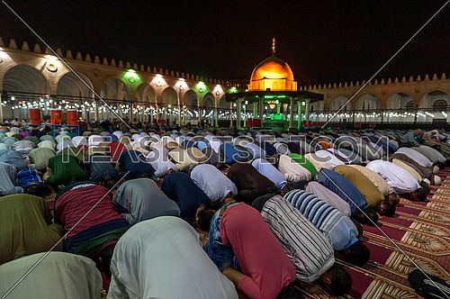 People praying Al-tarawih prayer in Amr ibn al Aas Mosque