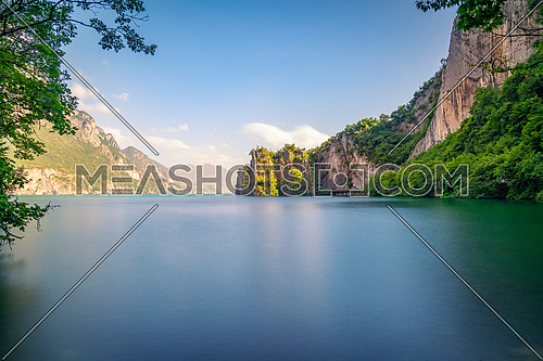 Amazing view of Iseo lake, Bay of the bogn near lovere , long exposure photo,Italy