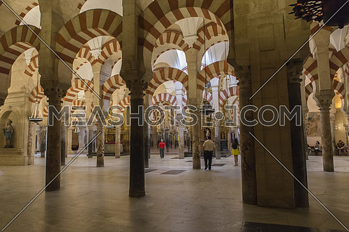 CORDOBA, SPAIN - September, 27, 2015: Interior of Mezquita-Catedral, a medieval Islamic mosque that was converted into a Catholic Christian cathedral, UNESCO World Heritage Site, Cordoba, Spain