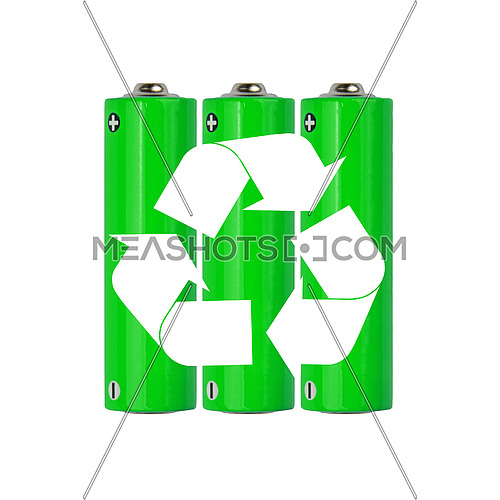 Close up group of vivid natural green alkaline AA batteries with white recycling icon sign isolated on white background