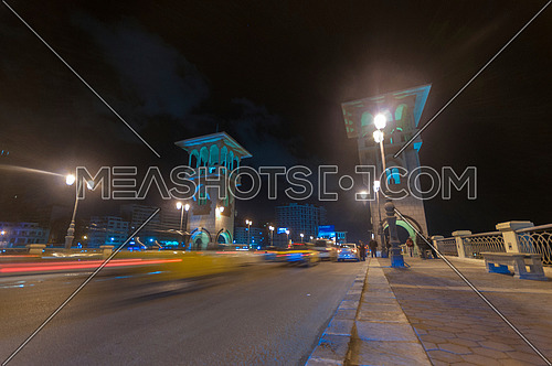 Long shot for Traffic at Stanly Bridge at Alexandria at Night