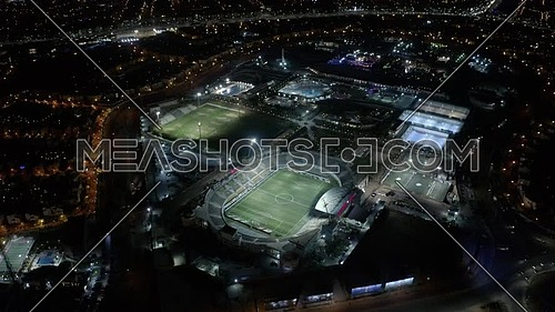 Aerial orbit shot for Petro Sport Club at New Cairo,  Egypt at night