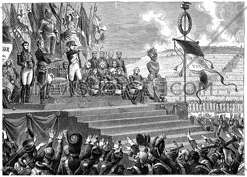 Party at the camp of Boulogne, vintage engraved illustration. History of France – 1885.