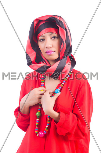 Woman in red scaf on white