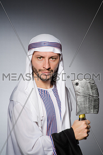 Arab man with sharp axe