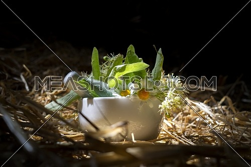 Pestle and mortar filled with fresh herbs and flowers on a bed of rustic straw in a shaft of sunlight