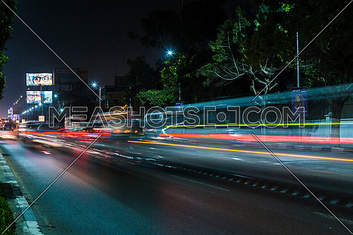 Long Shot for traffic at Salah Salim Street at Night