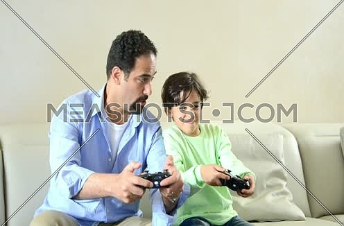 middle eastern Father and son enjoying quality time together