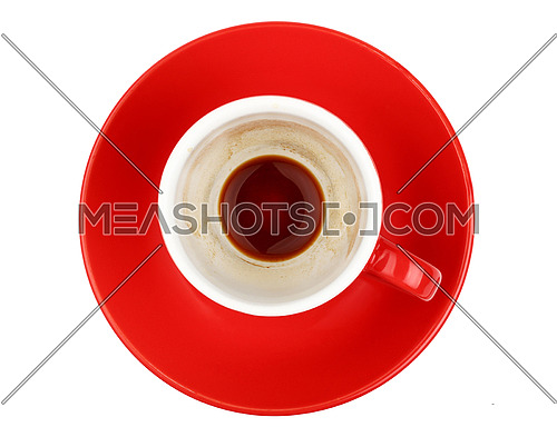 One empty finished morning espresso coffee shot in small red cup with saucer isolated on white background, top view, bird eye view, close up