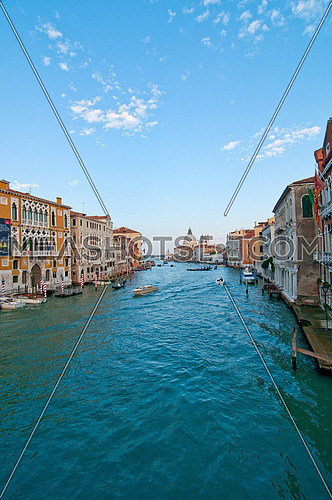 "Venice Italy grand canal view from the top of Accademia bridge with ""Madonna della Salute"" church on background"