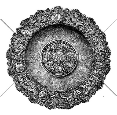 Tray vermeil of the seventeenth century, vintage engraved illustration. Magasin Pittoresque 1873.