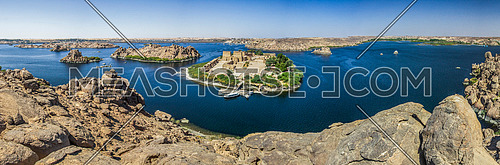 From the highest point in Mount Beja in Nubia Aswan and below shows the Philae Temple