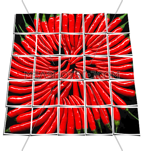 red chili peppers on black background collage composition of multiple images over white