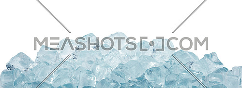 Close up clear ice cubes and rocks isolated on white background, low angle side view