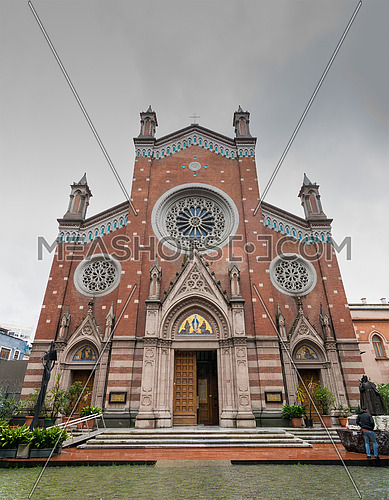 Facade of St. Anthony of Padua Church, the largest Roman Catholic Church in Istanbul, Turkey