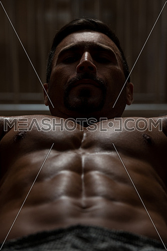 Mexican Bodybuilder Working Out Chest - Dumbbell Concentration Curls