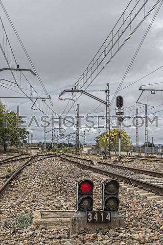 Espeluy, Spain - October 23, 2016: Espeluy railway platform and train tracks, Jaen province, Spain