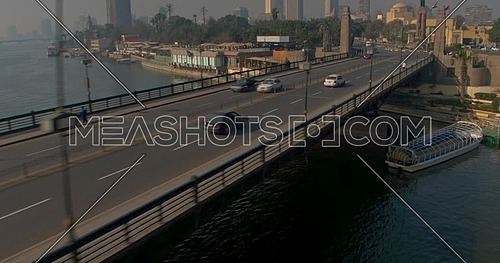 Tracking shot Drone for Kasr Al Nile Bridge in Cairo Downtown at early morning