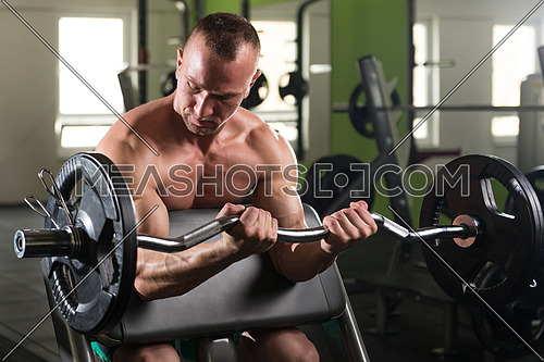 Muscular Man Doing Heavy Weight Exercise For Biceps With Barbell In Gym