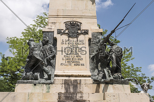 Segovia, SPAIN -  June 3: Monument to the Heroes of May 2 and homage to the captains Pedro Velarde and Luis Daoíz on the day of national independence in the gardens of the Queen Victoria Eugenia of the Alcazar of Segovia