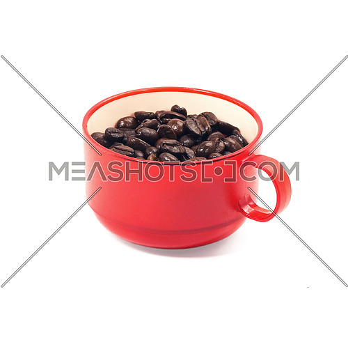 red cup of coffee isolated on white background