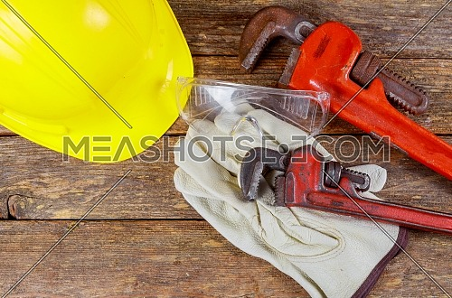 Helmet and set of tools construction safety equipment