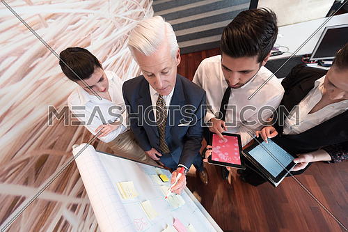 business people group brainstorming on meeting and businessman presenting ideas and projects on flipboard to senior ceo manager, boss giving task and projects to employees