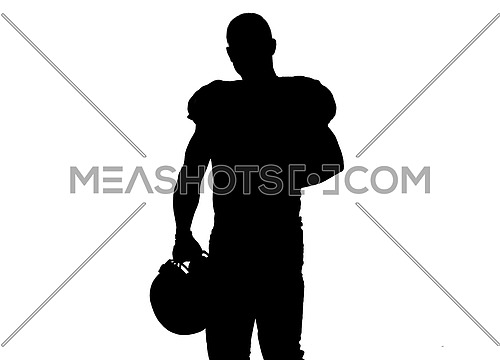 portrait of confident American football players holding ball isolated on white background