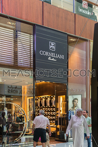 Dubai - AUGUST 7, 2014: Dubai Mall on August 7 in Dubai, UAE. Famous brand shops in Dubai Mall