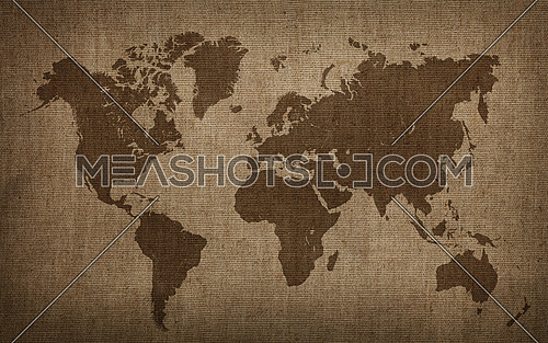 Brown world map on old vintage flax linen canvas